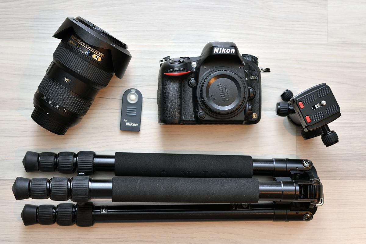 Eine typische Ausrüstung für Langzeitbelichtungen: Nikon D600, Nikon 16-35/4 VR, Sirui T1004X, Sirui G-10, Fernauslöser
